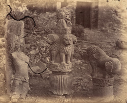 Pillars, lion capitals and fragments of statue to the north-east of the Great Stupa, Sanchi, Bhopal State